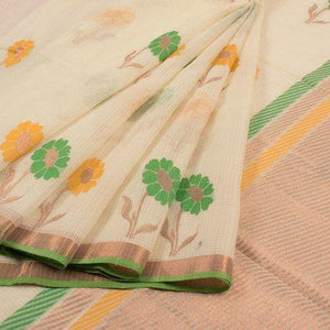 Attractive Cream Design Heavy Linen Cotton Saree  (11235) - Bollywood Replica Saree