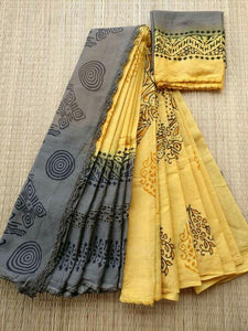 Stylish Yellow Printed Design Heavy Linen Cotton Saree. (11254) - Bollywood Replica Saree