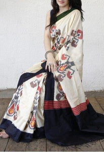 Attractive Cream Color Printed Design Heavy Linen Cotton Saree .(11277) - Bollywood Replica Saree