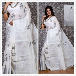 Attractive White Color Printed Design Heavy Linen Cotton Saree (11296) - Bollywood Replica Saree