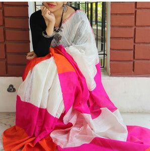 Multi Printed Design Heavy Linen Cotton Saree (11253) - Bollywood Replica Saree