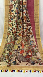 Attarctive Beige Color Multi Kalamkari Printed Design Heavy Linen Cotton Saree(1001)
