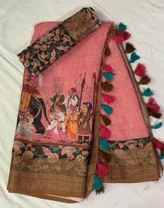 Baby Pink Color Traditional Printed Design Heavy Linen Cotton Saree(1002)
