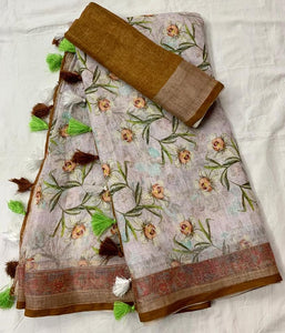 Exclusive Off White Color Flower Printed Design Heavy Linen Cotton Saree(1004)