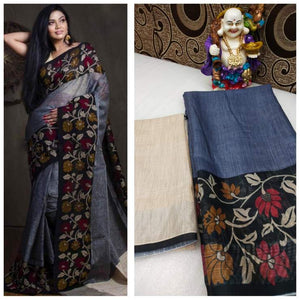 Designer Gray Flower Printed Heavy Linen Cotton Saree - Bollywood Replica Saree