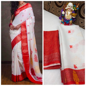 Designer White And Red Flower Printed Heavy Linen Cotton Saree - Bollywood Replica Saree