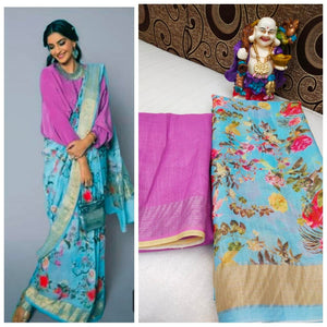 Designer Blue Digital Flower Printed Heavy Linen Cotton Saree - Bollywood Replica Saree