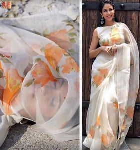 Attractive White Color Flower Printed Heavy Linen Saree - Bollywood Replica Saree