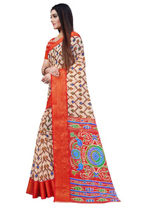 Wonderfull Red Color Printed Pure Cotton Linen Saree.