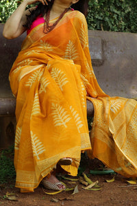 Designer Orange Digital Printed Design Heavy Linen Cotton Saree. - Bollywood Replica Saree