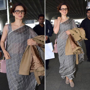 Kangana Wear Designer Celebrity Style Linen  Printed Saree .(111) - Bollywood Replica Saree