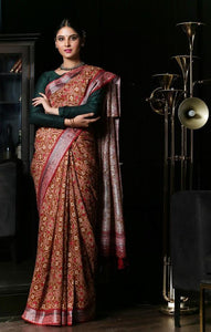 Musterd Flower Design Heavy Linen Cotton Saree - Bollywood Replica Saree