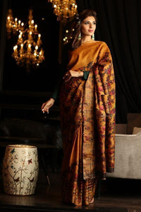 Exclusive Mustard Color Flower Design Heavy Linen Cotton Saree - Bollywood Replica Saree