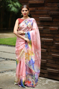 Beautifull Peach Color Flower Printed Design Heavy Linen Cotton Saree..ms1012 - Bollywood Replica Saree