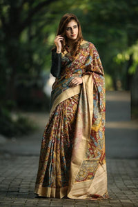 Dark Mustard Flower Printed Designe Heavy Linen Cotton Saree.ms1014 - Bollywood Replica Saree