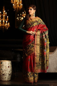 Refrashing Red Color Flower Printed Design Heavy Linen Cotton Saree - Bollywood Replica Saree