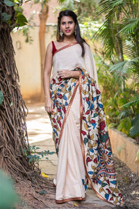 Attractive White Color Flower Printed Design Heavy Linen Cotton Saree..1035 - Bollywood Replica Saree