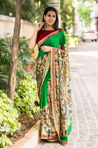 Stylish Green Color Flower Printed Design Heavy Linen Cotton Saree - Bollywood Replica Saree