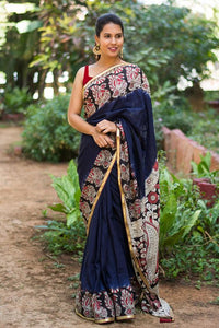 Attractive Navy Blue Color Flower Printed Design Heavy Linen Cotton Saree. (ms1042) - Bollywood Replica Saree