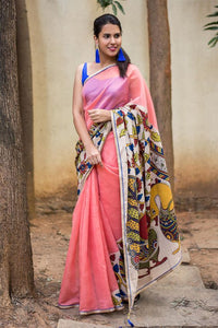 Stylish Pink Color Flower Printed Design Heavy Linen Cotton Saree. - Bollywood Replica Saree