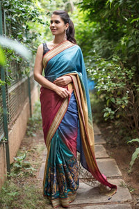 Teal Color Flower Printed Design Heavy Linen Cotton Saree. - Bollywood Replica Saree