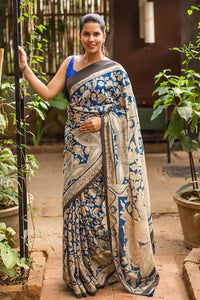 White N Blue Color Flower Printed Design Heavy Linen Cotton Saree. - Bollywood Replica Saree
