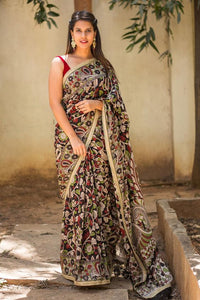 Black N White Flower Printed Design Heavy Linen Cotton Saree.ms1050 - Bollywood Replica Saree