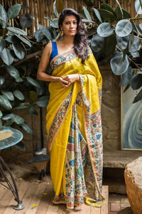 Lime yellow Flower Printed Design Heavy Linen Cotton Saree. - Bollywood Replica Saree