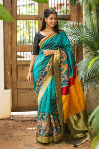 Attractive Teal Color Flower Printed Design Heavy Linen Cotton Saree..1056 - Bollywood Replica Saree
