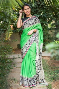 Wonderfull Green Color Flower Printed Designe Heavy Linen Cotton Saree.. - Bollywood Replica Saree