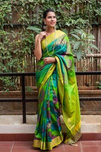 Exclusive Green Color Flower Printed Design Heavy Linen Cotton Saree.. - Bollywood Replica Saree