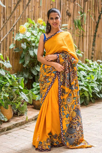 Stylish Orange Color Flower Printed Design Heavy Linen Cotton Saree.. - Bollywood Replica Saree