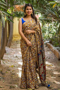Multi Color Flower Printed Designe Heavy Linen Cotton Saree.. - Bollywood Replica Saree