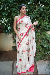 Attractive White Color Flower Printed Design Heavy Linen Cotton Saree..1065 - Bollywood Replica Saree