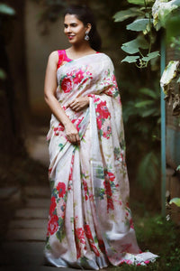 Stylish White N Red Color Flower Printed Design Heavy Linen Cotton Saree.. - Bollywood Replica Saree