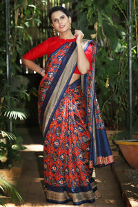 Red N Blue Color Flower Printed Design Heavy Linen Cotton Saree.. - Bollywood Replica Saree
