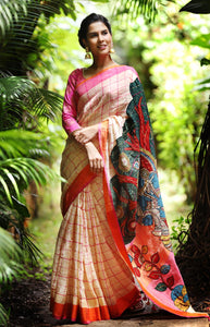 Multi Color Flower Printed Design Heavy Linen Cotton Saree.. - Bollywood Replica Saree
