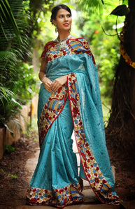 Stylish Teal Color Flower Printed Design Heavy Linen Cotton Saree.. - Bollywood Replica Saree