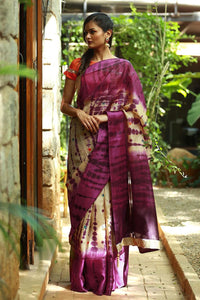 Purple Color Printed Design Heavy Linen Cotton Saree.. - Bollywood Replica Saree
