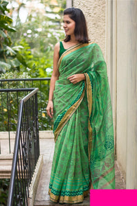 Stylish Green Color Printed Design Heavy Linen Cotton Saree.. - Bollywood Replica Saree