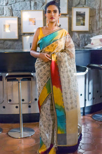 Attractive Multi Color Printed Design Heavy Linen Cotton Saree..(ms1105) - Bollywood Replica Saree