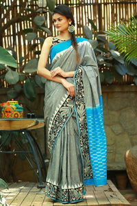 Black N Blue Color Printed Design Heavy Linen Cotton Saree..ms1107 - Bollywood Replica Saree