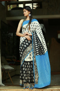 Stylish Blue Color Printed Design Heavy Linen Cotton Saree.. - Bollywood Replica Saree