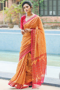 Attractive Yellow Color Printed Design Heavy Linen Cotton Saree..ms1111 - Bollywood Replica Saree