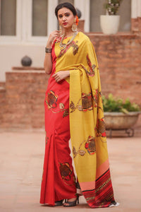 Red N Yellow Color Flower Printed Design Heavy Linen Cotton Saree.. - Bollywood Replica Saree