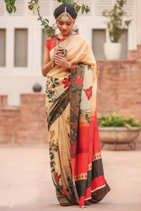 Partywear Multi Color Flower Printed Design Heavy Linen Cotton Saree.. - Bollywood Replica Saree