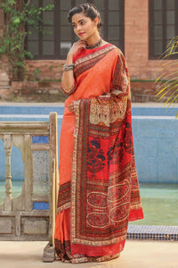 Stylish Orange  Flower Printed Design Heavy Linen Cotton Saree.. - Bollywood Replica Saree