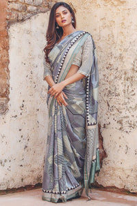 Partywear Gray Flower Printed Design Heavy Linen Cotton Saree.. - Bollywood Replica Saree