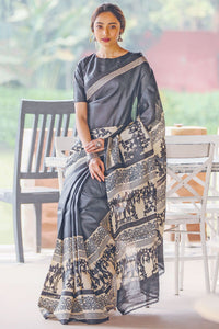Designer Gray Flower Printed Design Heavy Linen Cotton Saree..ms1125 - Bollywood Replica Saree