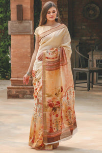 Orange Flower Printed Design Heavy Linen Cotton Saree.. - Bollywood Replica Saree